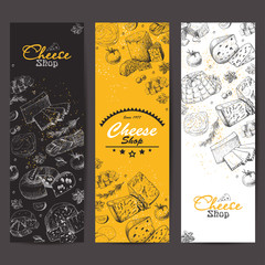Vertical banners with a variety of cheeses