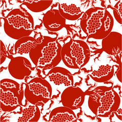Bright fruit design element . Bright red slice of pomegranate on a  white background.