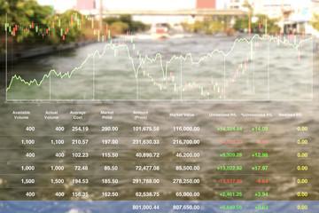 Stock market data index information of flooding area problem background.