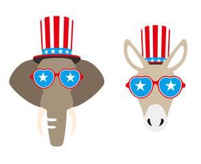 Democrat Donkey and Republican Elephant flat vector illustration