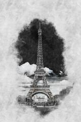 Vintage style Zeichnung des Eiffelturm Paris