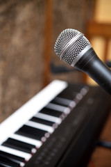 Microphone macro close up singing voice concept