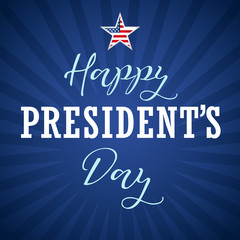 Happy Presidents Day USA lettering, star on blue stripes. Calligraphic composition of Happy Presidents Day with star and text on beams. Vector illustration