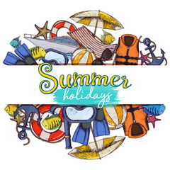 Set of beach summer holidays accessories, sketch cartoon illustration. Vector