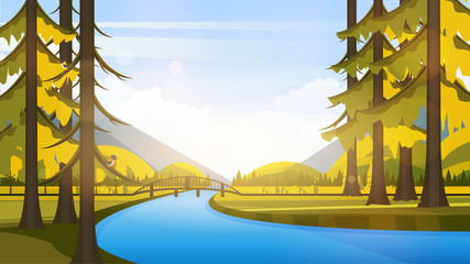 Vector Beautiful Flat Illustration Style Landscape in Spring/Summer. River Mountains and Trees.