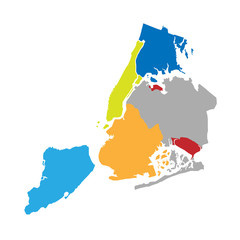 New York boroughs map - NYC administrative divisions and districts
