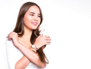 beautiful young woman with long hair wearing wrist watch