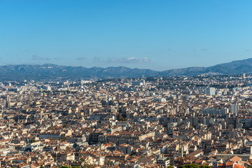 Aerial panoramic view of Marseille from basilica of Notre Dame de la Garde in Marseille, Provence, France