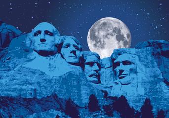 Mont Rushmore - États Unis - monument - symbole - américain - nuit - lune - USA, sculpture