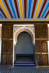 Arabic decorated door in Bahia Palace,Marrakesh,Morocco.