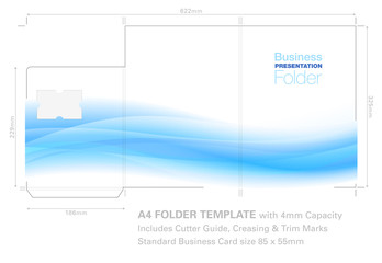 A4 Presentation Folder Template with Flow Background Graphic, Cutter Guide, with standard business card slot