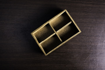 The box on wood background.