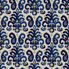 Seamless ikat paisley pattern. Traditional oriental ethnic ornament. Indigo, cobalt blue and beige on ecru background. Textile design.