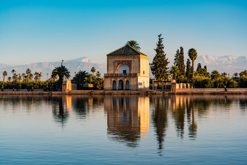 Foto op Plexiglas Marokko Saadian pavilion,Menara gardens and Atlas in Marrakech, Morocco, Africa