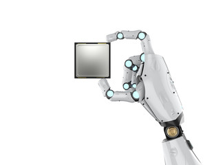 cyborg holding cpu chip