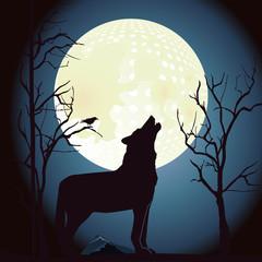 Wolf heult den Mond an