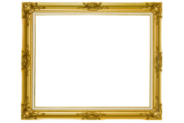 Golden vintage frame, Golden frame Louis isolated on white background.