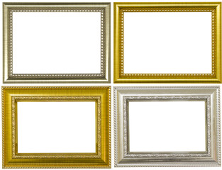 Set of Golden and Silver vintage frame, Golden and Silver frame Louis isolated on white background.
