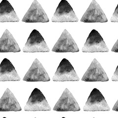 Abstract watercolor hand drawn triangles seamless pattern