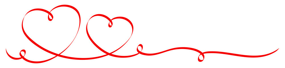 2 Red Hearts Ribbon Calligraphy
