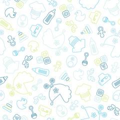Seamless Baby Pattern Symbols Boy Outline