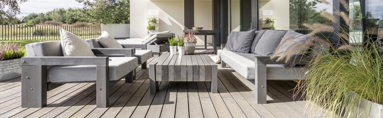 Wooden terrace in residence