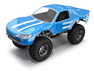 Monster truck. Big foot. 3d illustration isolated on white