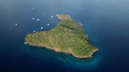 Tropical island in ocean. Koh Bon Island in Thailand. Aerial photo