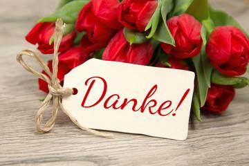 Tulpen und Karte: Danke!