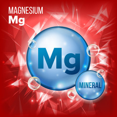 Mg Magnesium Vector. Mineral Blue Pill Icon. Vitamin Capsule Pill Icon. Substance For Beauty, Cosmetic, Heath Promo Ads Design. 3D Mineral Complex With Chemical Formula. Illustration