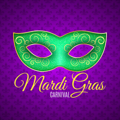 Flyer for Mardi Gras carnival. Green glitter mask with green sparkles. Seamless pattern from purple heraldic lily. Fleur de lis symbol for a masquerade. Text typography. Vector