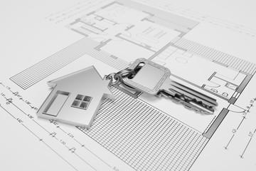 Haus Schlüssel für Immobilie auf Bauplan