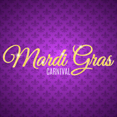 Flyer for Mardi Gras carnival. Gold glitter text with golden sparkles. Seamless pattern from purple heraldic lily. Fleur de lis symbol for a masquerade. Gold particles shine. Vector
