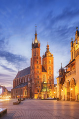 St Mary s Church at Main Market Square in Cracow, Poland