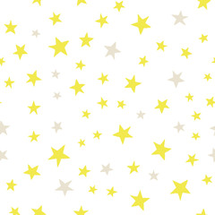 Starry sky on white background. Hand drawing vector seamless pattern