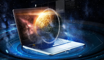 laptop with virtual planet and space hologram