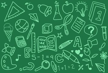 School Day Doodle Icons Handmade