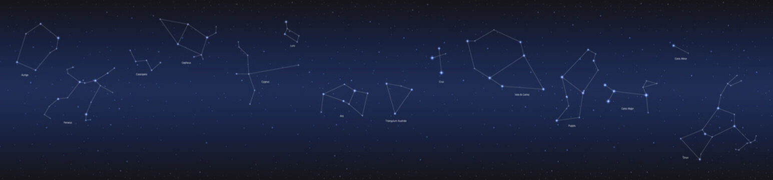 constellation in cosmos panorama background, group of star in galaxy, astronomy set, vector illustration