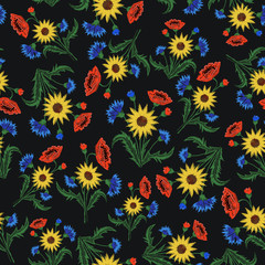 Floral Embroidery seamless pattern with colorful flowers for you