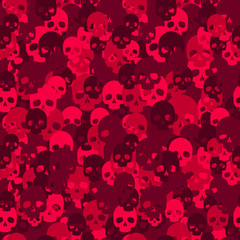 Skull camo seamless pattern. Red camouflage. Vector background for your design.