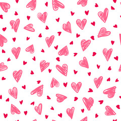 Seamless romantic pattern with hand drawing hearts. Vector cute holiday background. Gift wrap, print, cloth, cute background for a card.