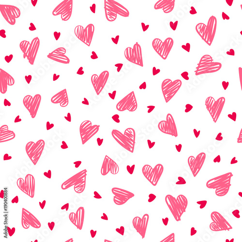 seamless romantic pattern with hand drawing hearts vector cute