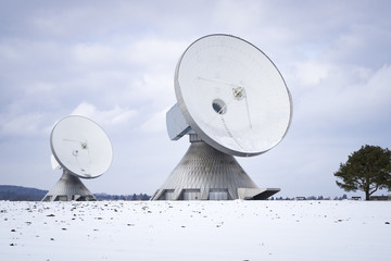 two satellite dishes in Bavaria Germany