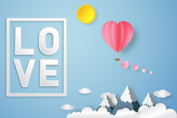 The love text with pink hot air balloon, sunny on blue sky as heart valentine's day, wedding and paper art concept. vector illustration.