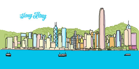 Hong Kong Colored Skyline Banner
