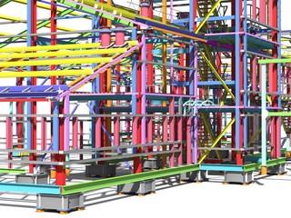 Construction of metal buildings. Engineering background. Construction background. 3D rendering.