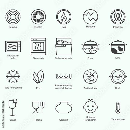 Symbols of food grade metal indicate properties and destination of a ...