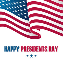 Happy Presidents Day celebration card with waving USA national flag. Vector illustration.