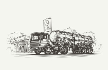 Cistern Truck near Gas station. Vector. eps10.