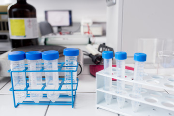 Tubes in holders in lab
